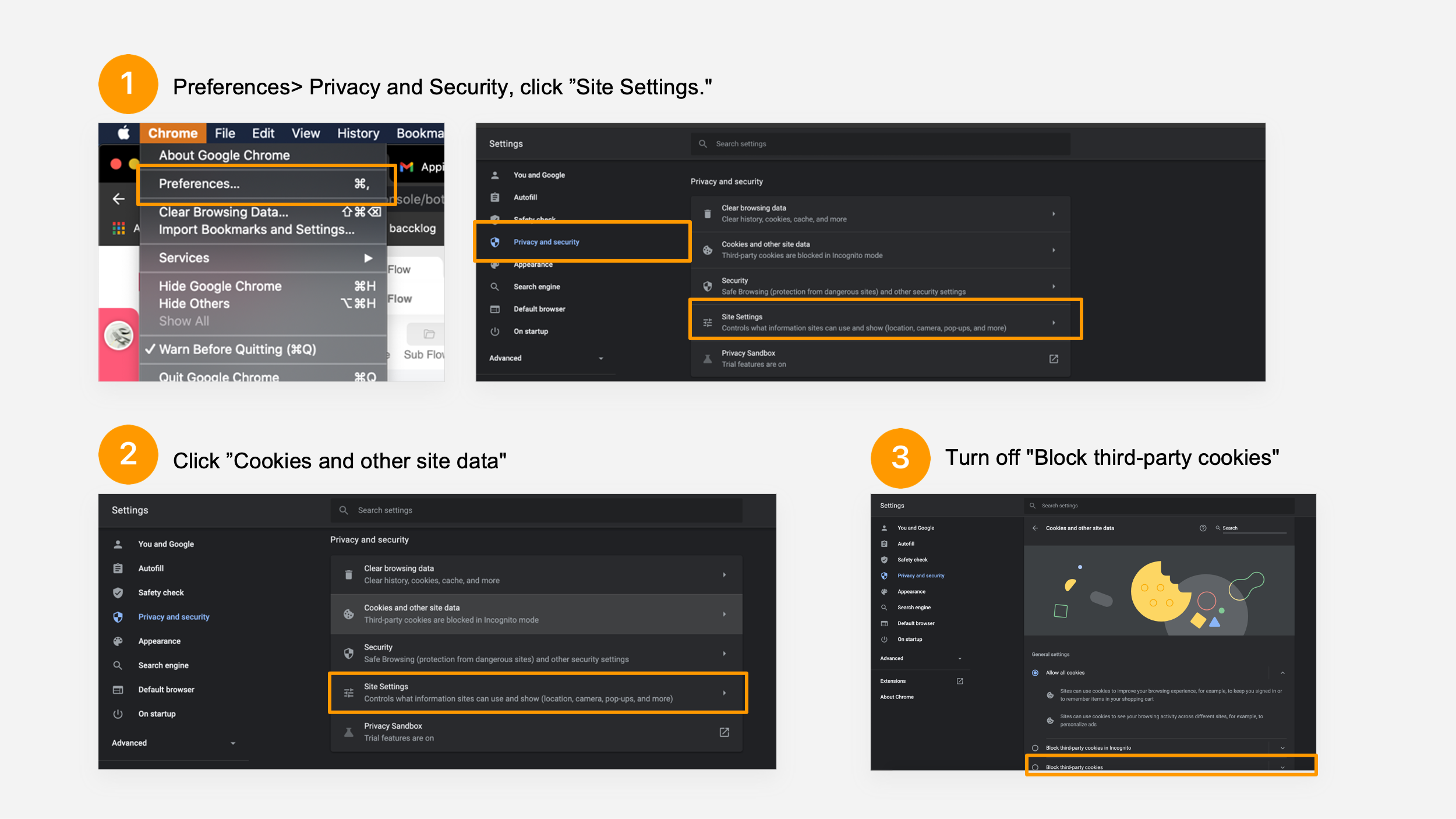 check whether your web browser is blocking third-party cookies