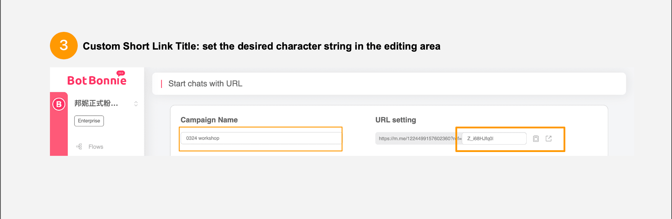 Custom URL setting
