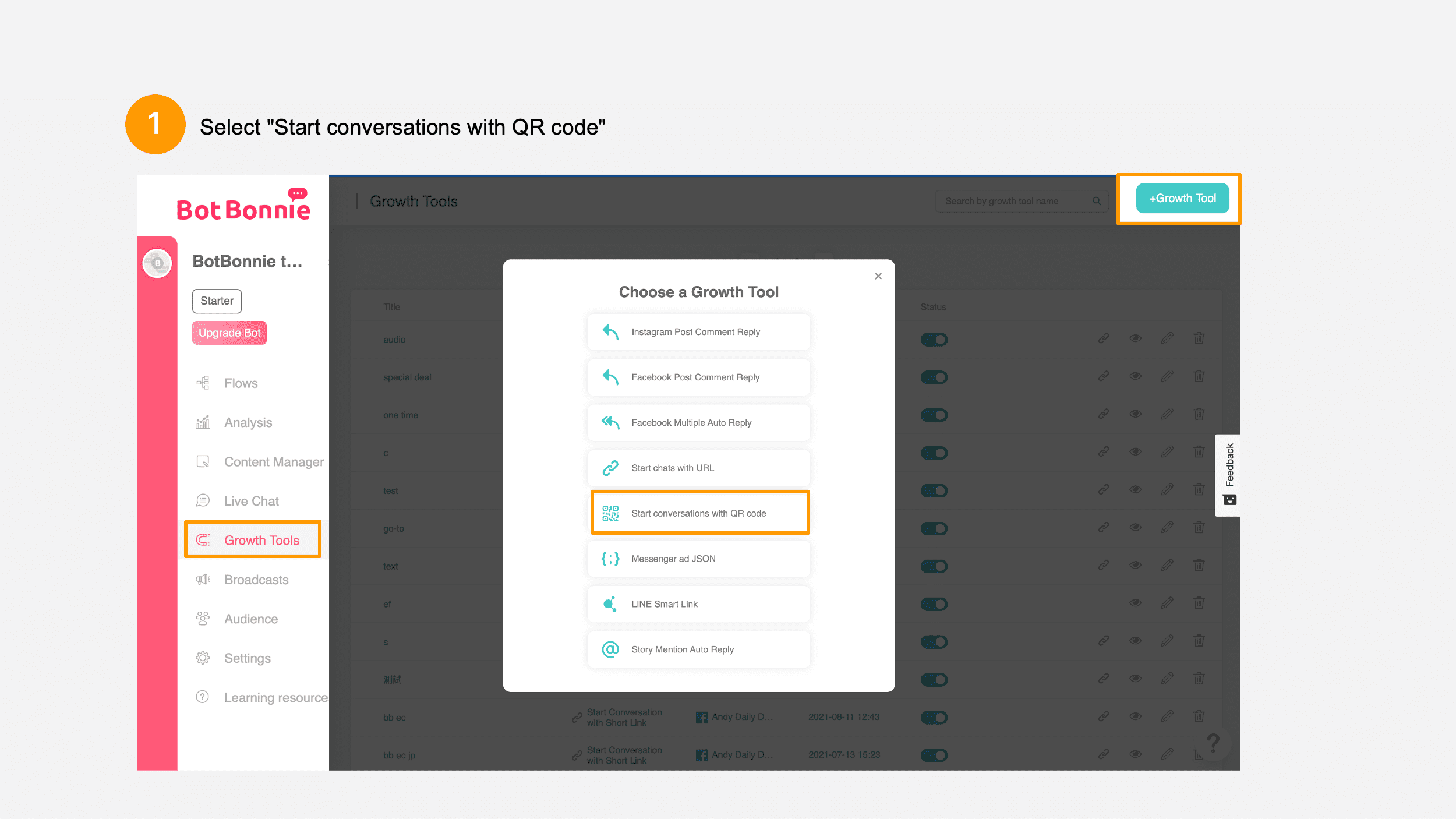 """Select """"Start conversations with QR code"""""""
