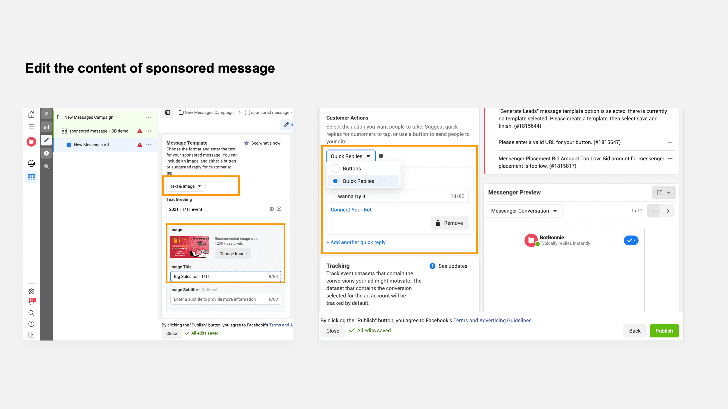 """Under """"Customer Actions,"""" you can choose """"Buttons"""" or """"Quick Replies"""""""