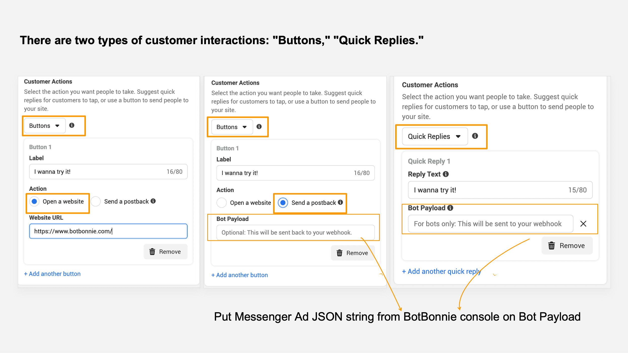 Three ways to interact with customers