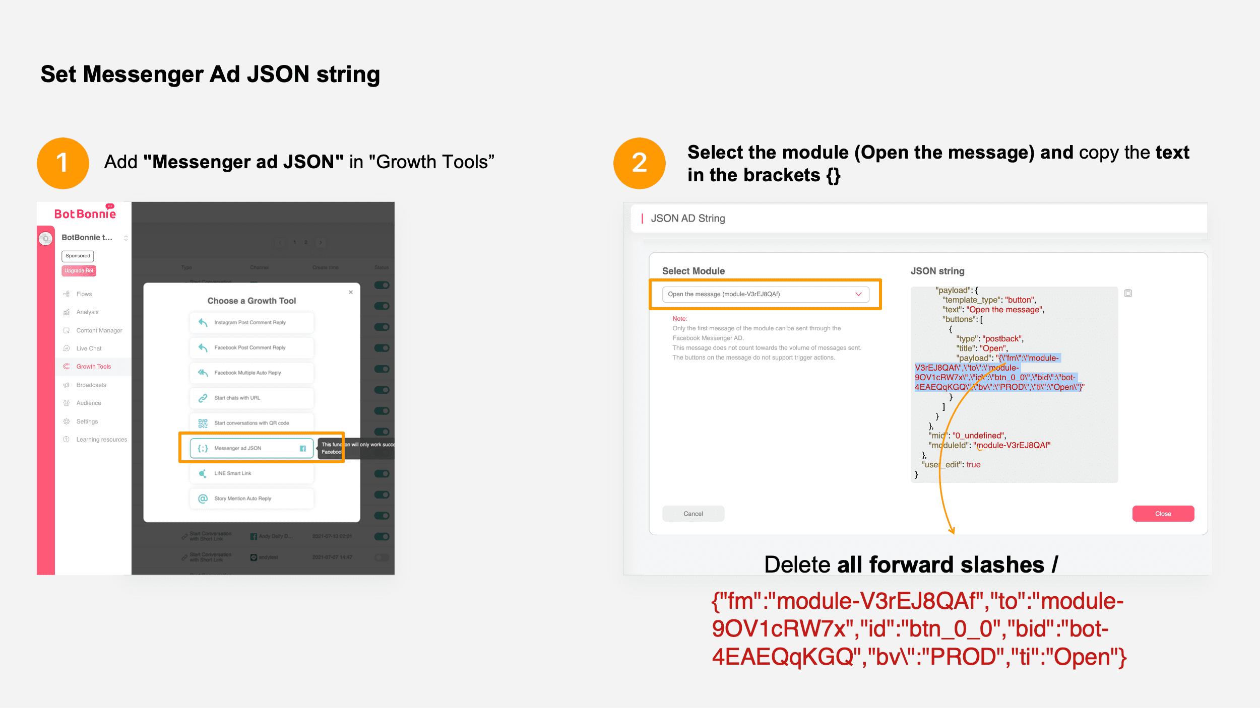 Set Messenger Ad JSON string