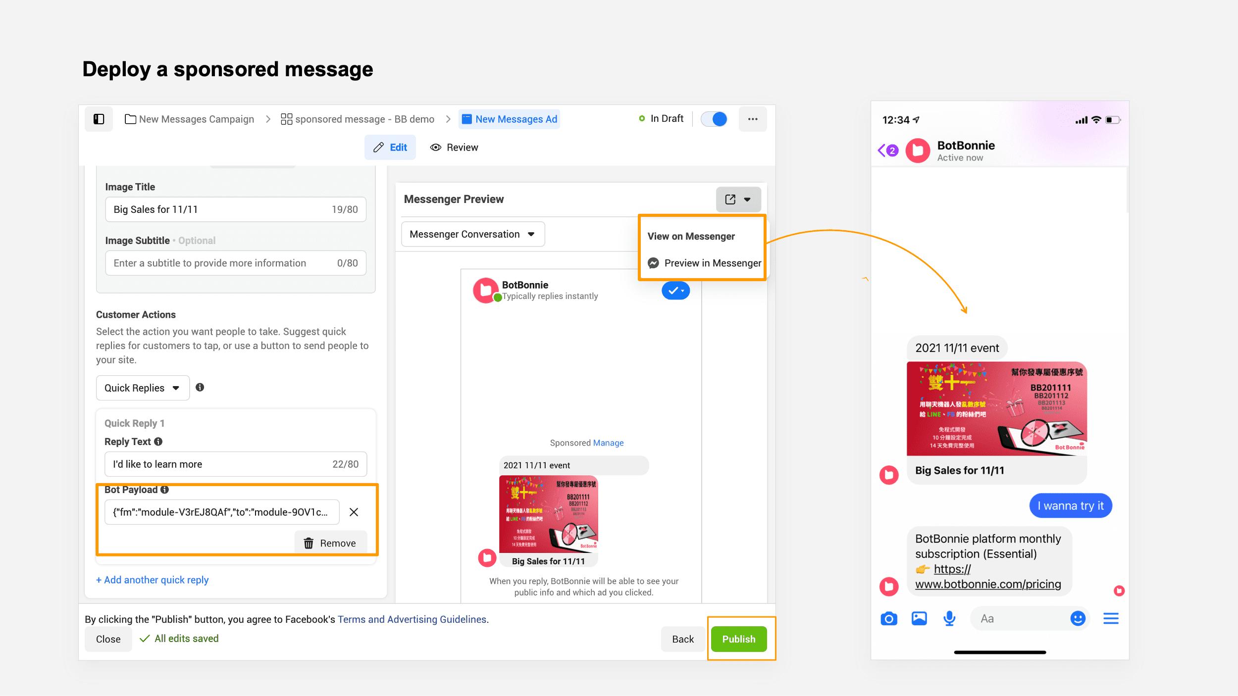 Deploy a sponsored message