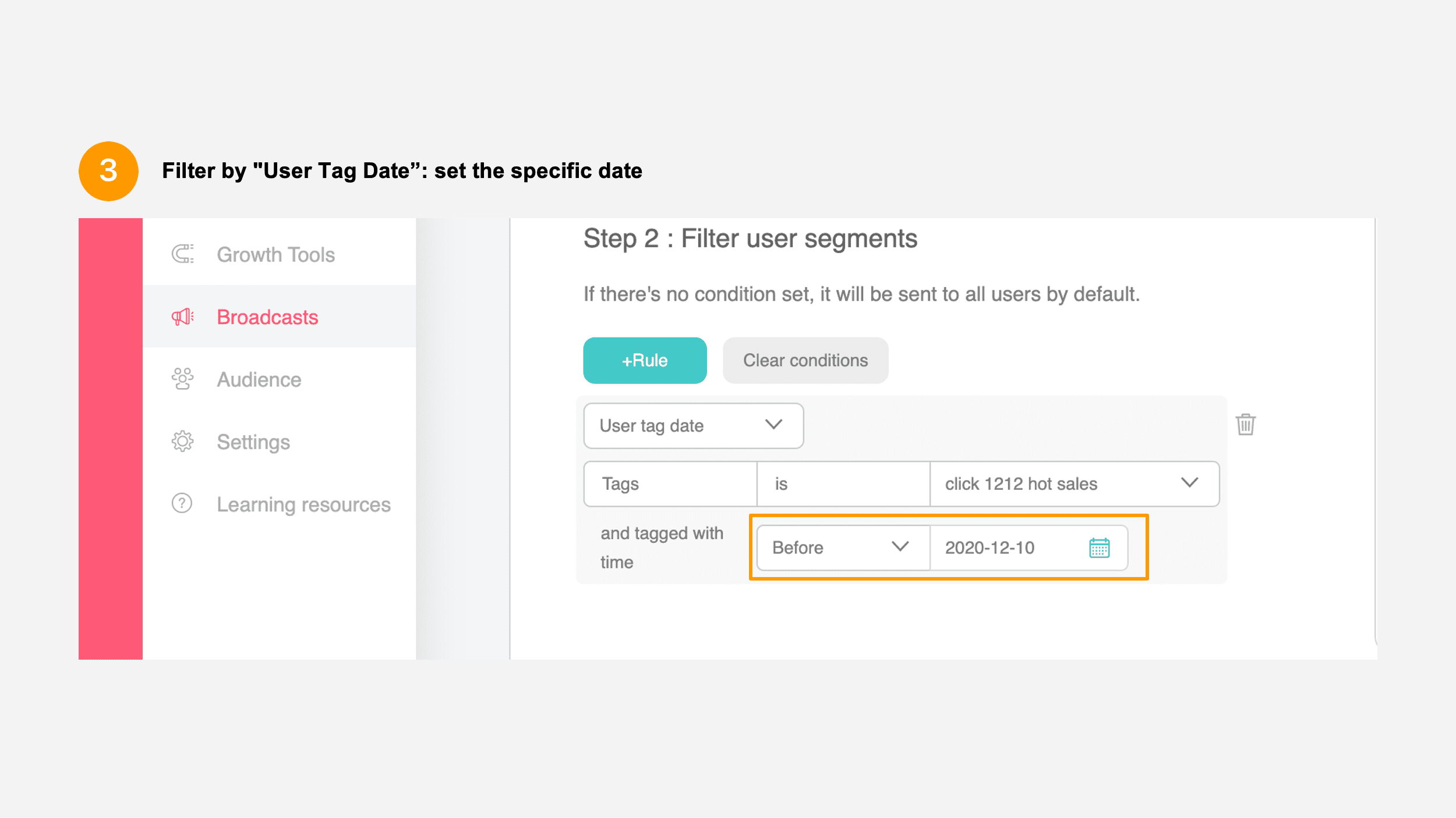 User tag date filter