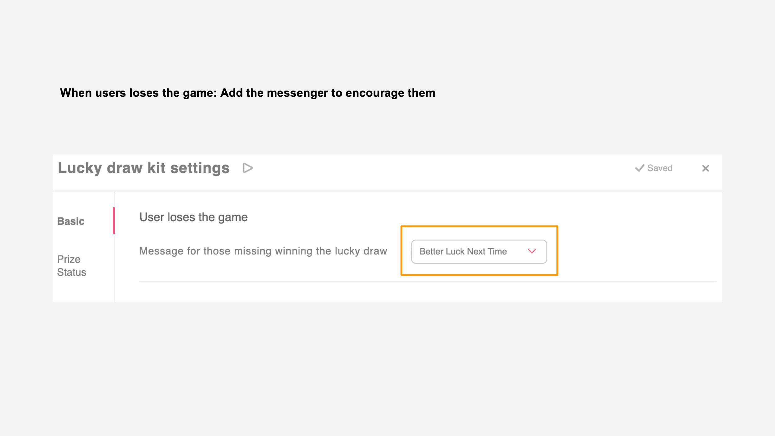 "set the ""No winnings message"" module"