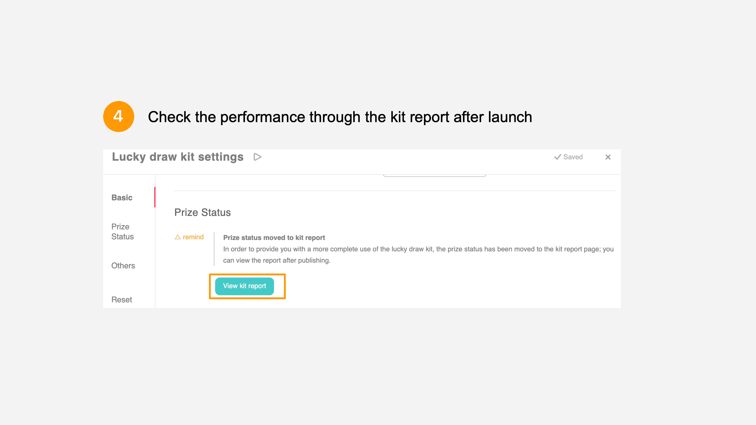 Prize status linked kit report